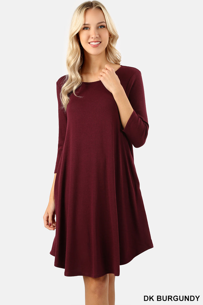 3/4 Sleeve round Hem A-Line Dress-Dress/Tunic-Moonshine and Lace Boutique