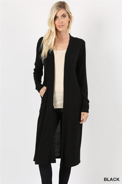 "Sweater Open Front Duster Cardigan - 42""/44""-Kimonos/Cardigans/Vest/Shawls/Jackets-Moonshine and Lace Boutique"