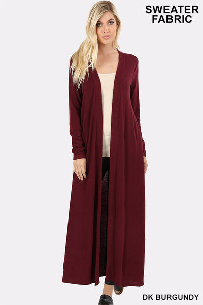 "Open Front Long Duster Cardigan - 50""-Kimonos/Cardigans/Vest/Shawls/Jackets-Moonshine and Lace Boutique"