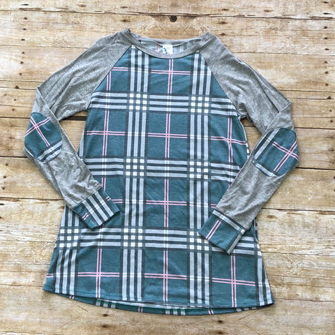 Plaid and Grey Top-Tunic-Moonshine and Lace Boutique