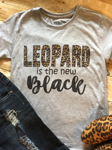 Leopard Is the New Black Tee - Grey
