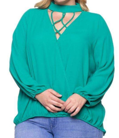 Green Blouse with Cage Neck Choker Blouse - CURVY-Tops/Tunics-Moonshine and Lace Boutique