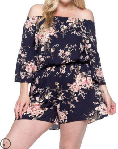 Navy Floral Romper - CURVY-Dress/Romper-Moonshine and Lace Boutique