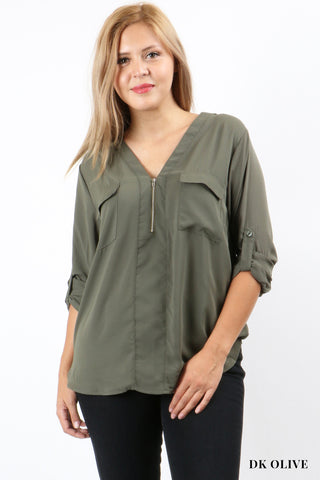 3/4 Roll Sleeve blouse with Double Chest Zipper Trimmed Pockets-Tops/Tunics-Moonshine and Lace Boutique