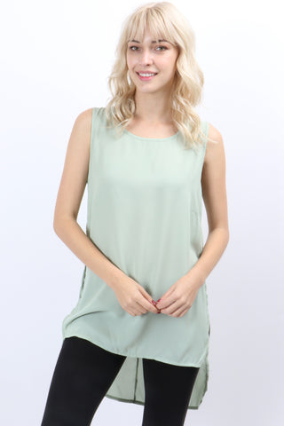 Sleeveless Round Neck Hi-Lo Tunic-Tops/Tunics-Moonshine and Lace Boutique
