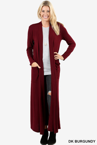 "Long Length Slouchy Pocket Open Cardigan - 52""-Kimonos/Cardigans/Vest/Shawls/Jackets-Moonshine and Lace Boutique"