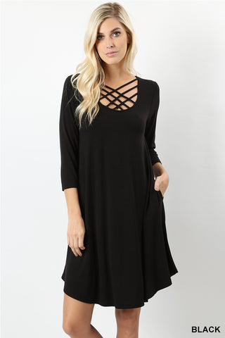 3/4 Sleeve Triple Lattice Dress-Dress-Moonshine and Lace Boutique