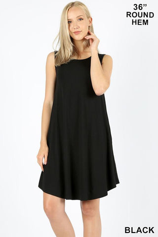Sleeveless Swing Dress with Pockets