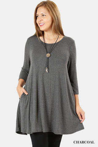 3/4 Sleeve Swing Tunic-Tunic-Moonshine and Lace Boutique