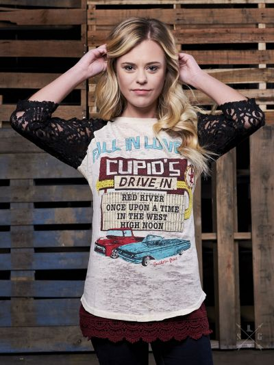 Fall in Love at Cupid's Drive-In-Graphic Tee-Moonshine and Lace Boutique