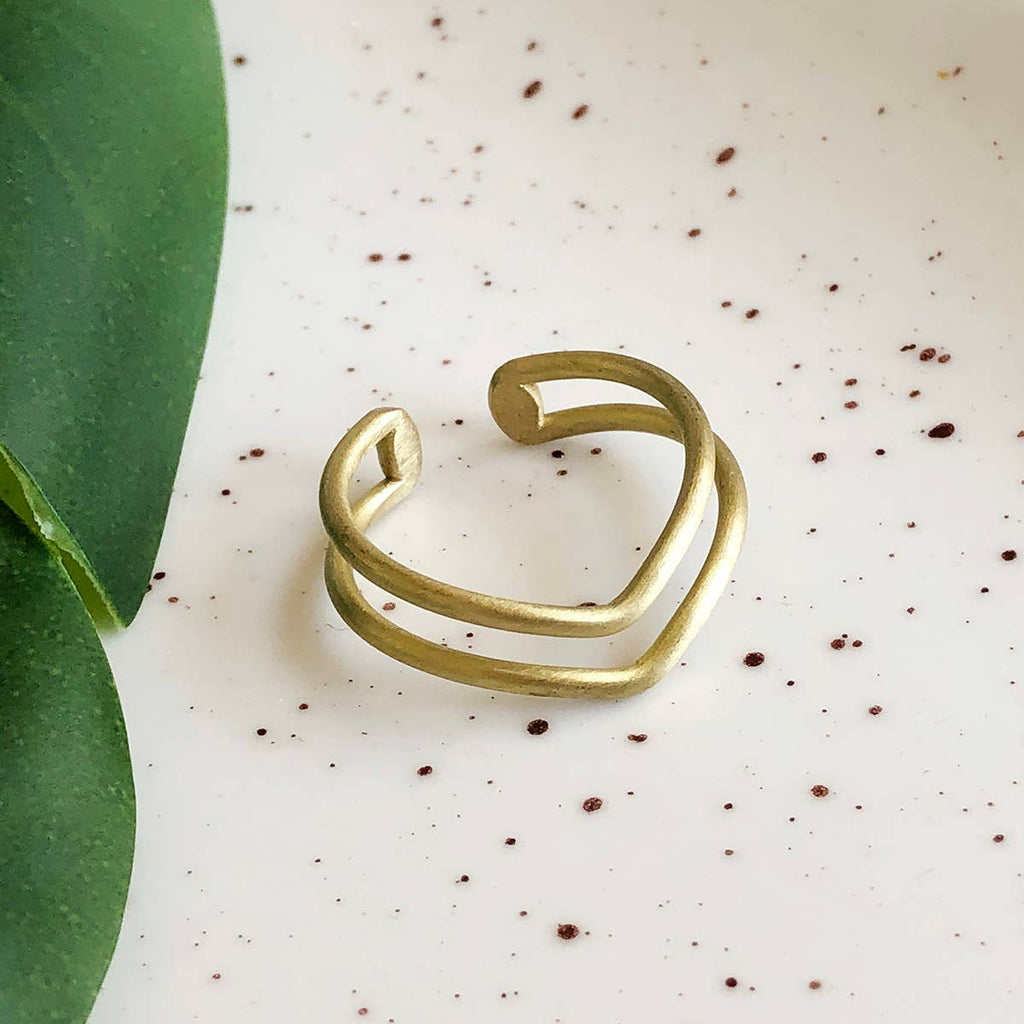 Double V Ring - Gold
