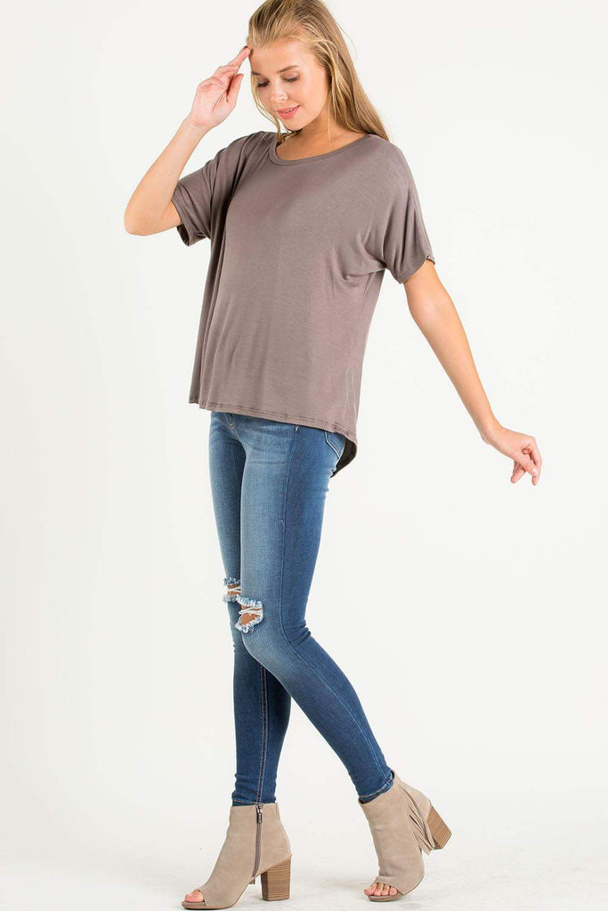 Drape Back Top in Cocoa-Tops/Tunics-Moonshine and Lace Boutique