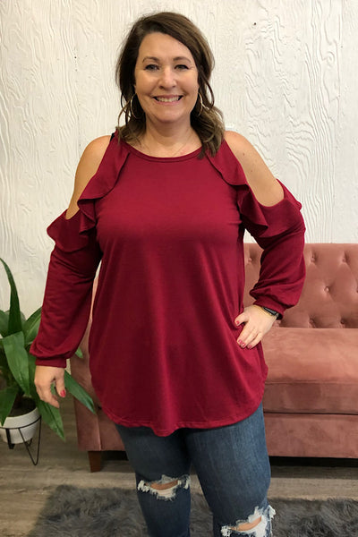 Ireland- Cold Shoulder Ruffle Top - Burgundy