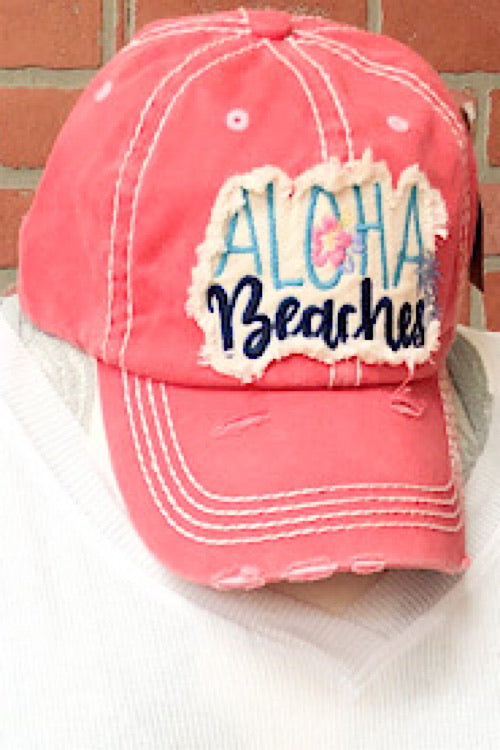 Aloha Beaches Hat - Coral