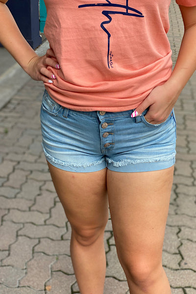 Crystal - Button Fly Distressed Denim Shorts - Light Wash (1-11)