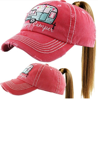 Ponytail Happy Camper Hat