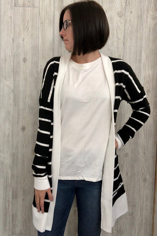 Joyce - Striped Sweater Long Cardigan - Black/Ivory (S-XL)