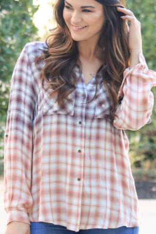 Leila's Acid-wash Button-Down Plaid - Mint & Mauve