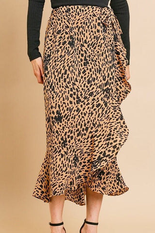 Frances - Animal Print Wrap Midi Skirt