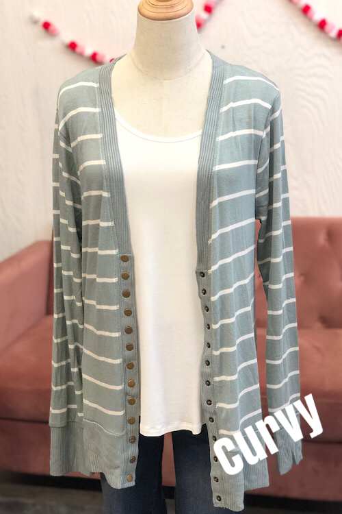 Ella Striped Cardigan- LT Green (1XL-3XL)