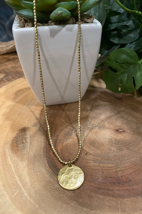 Simple Medallion Necklace - Gold