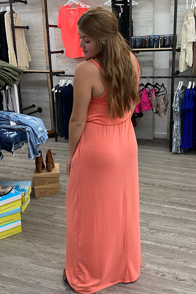 Augusta Maxi Dress with Straps - Deep Coral (S-XL)