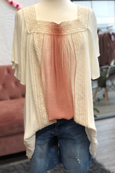 Cinnamon - Gauzy Wide Neck Boho Tunic