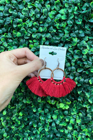 Boho Fringe Earrings- Red