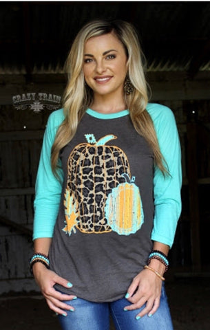 Crazy Train* Leaves Of Leopard Baseball Tee