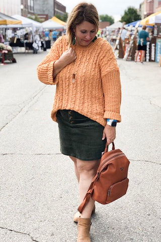 Nina Chenille Cable Knit Sweater - Mustard
