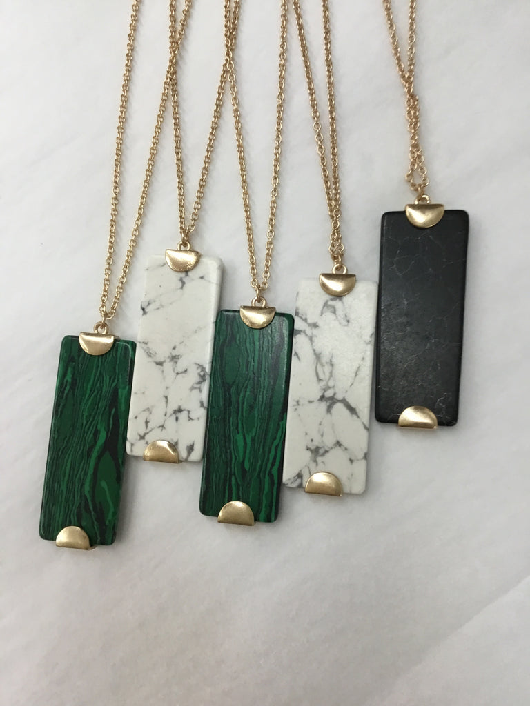 Long Natural Stone and Gold Necklace