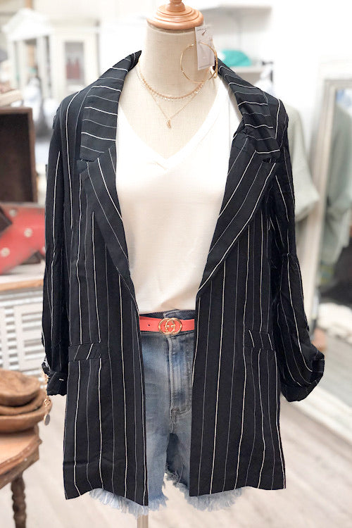 Tess - Striped Blazer - Black