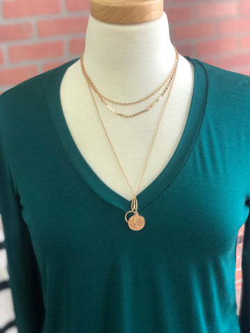 Triple Layer Coin Pendant Necklace & Earring Set - Gold