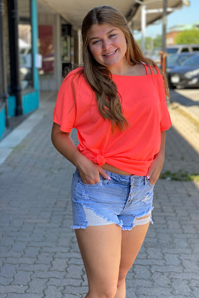 Neon Coral Strappy One Shoulder Top  (S-L)