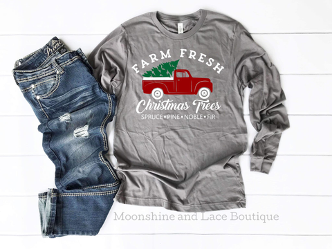 Little Red Truck Christmas Long Sleeve Tee
