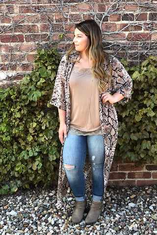 Brown Eyed Girl - Snake Skin Print Long Kimono