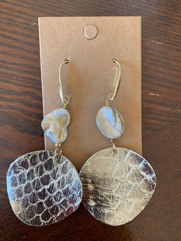 Snakeskin Metal and Pearl Earrings