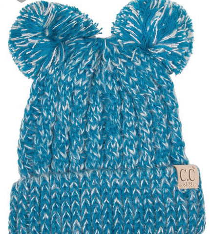 Kids C.C. Beanie with Double Pom Pom
