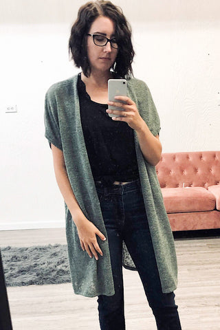 Shannen - Light Weight Long Open Cardigan - Olive