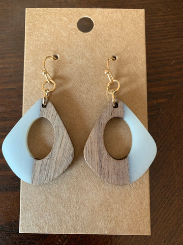 Wood and Acrylic Earrings - Grey