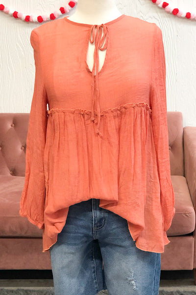 Taylor - Tie Neck Top with Empire Waist - Peach