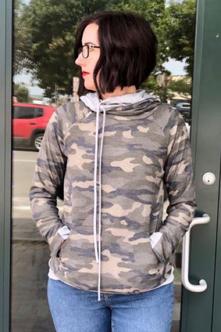 Ally - Camo Side Zipper Double Hoodie
