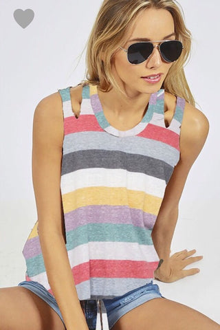 Stripe Tank with Shoulder Cut Out