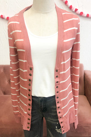 Ella Striped Cardigan- Ash Rose