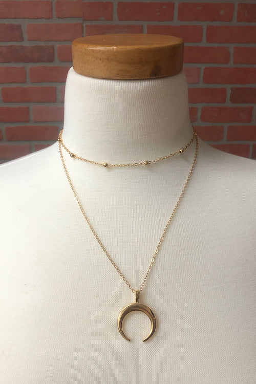 Over the Moon Necklace Set- Gold