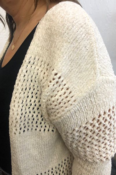 Chenille See Through Eyelet Cardigan