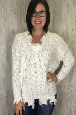 Kimberly - Distressed V-Neck Sweater - Ivory (S-L)