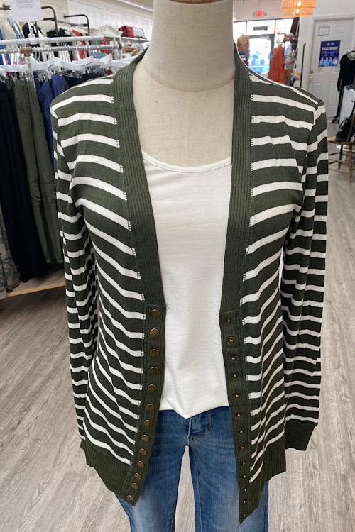 Ella Striped Cardigan - Dark Olive/Ivory