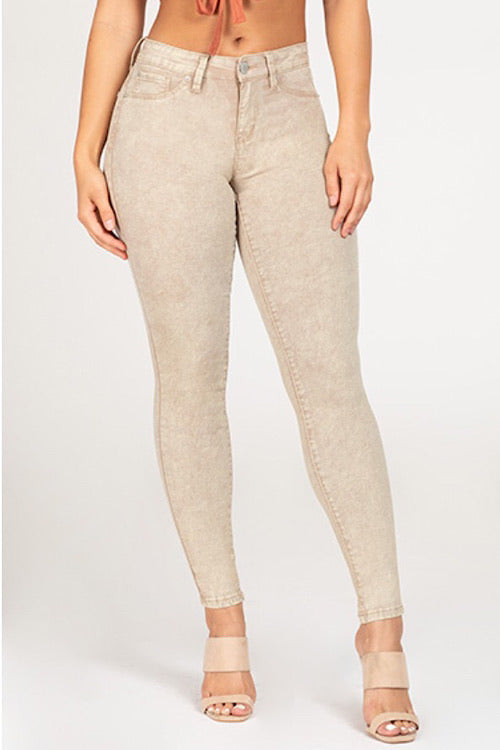 Hyperstretch Mid-Rise Skinny Jean - Sand Acid