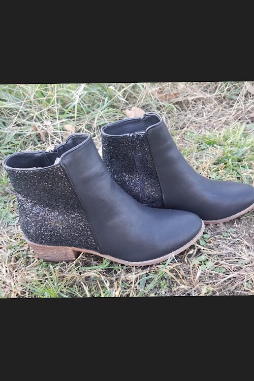 Catalina - Black Sparkle Short Boots